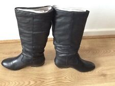 Womens Office Hazel Slouch Black Leather Knee boots - UK Size 4 - Brand New