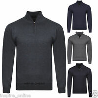 MENS HALF ZIP FUNNEL NECK FITTED FINE KNITTED PLAIN FORMAL OFFICE SMART JUMPER