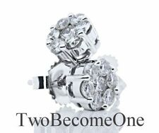 Cluster Natural White Gold Fine Diamond Earrings