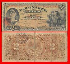 Mexico P-S256a El Banco Nacional De Mexico 2 Pesos 1913 Fine