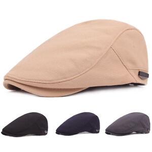 Mens Newsboy Cap Winter Hat Elastic Adjustable Ivy Flat Gatsby Plain Checks Cap