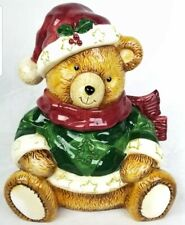 Teddy Bear Cookie Jar Porcelain Winter Holiday Biscut Canister Christmas
