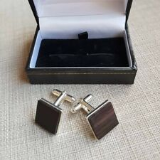African Blackwood and  Silver Plated cufflinks  5th anniversary,Christmas gift