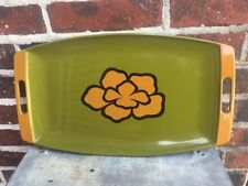 Mid Century 19�c10� Melamine? Plastic Tray Green With Yellow Flower & Handles