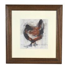 "Cathy Pilkington UK Artist ""Hen I"" Original Watercolor Painting Abstract Chicken"