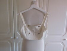 VGC FREE PEOPLE CREAM COTTON BUTTON FRONT BRALET TOP SIZE 8