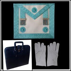 masonic regalia-CRAFT MASTER MASON (MM) APRON (LAMBSKIN) & SLIM CASE + GLOVES