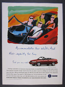 1997 Saab 900 SE Turbo Convertible red car photo & art vintage print Ad