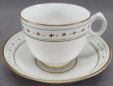 Pair of English Green & Gold Band Ring Handle Tea Cups & Saucer Circa 1860