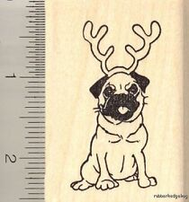 Pug Reindeer Christmas rubber stamp H11201 WM dog