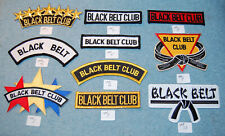 Various Black Belt & Black Belt Club Embroidered Patches, New