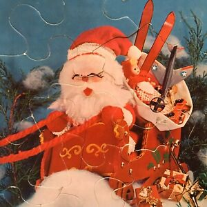 Whitman Santa Puzzle Frame Tray Kids Leisure Teaching Toy Christmas 1967 Vintage