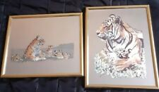 Vintage Retro Mirrors Pictures x 2 Foil Etched Tigers Framed mirrors 8x10 inches