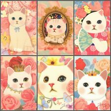 SET 6 pc Jetoy CHOO CHOO CAT Flower WHITE KITTEN Pink Roses Korean Art Postcard