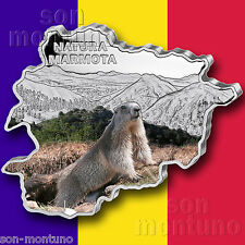 MARMOT - 2013 Andorra - MAP SHAPED Colorized .999 SILVER COIN with Box & COA