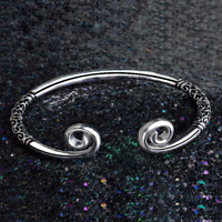 925 Silver Plated Hoops Carved Bangle Cuff Bracelet Fashion Women Men Jewelry