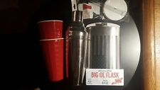 Used Giant Cocktail Shaker- New Giant Flask- 2 New Giant Red Cups w straws&lids