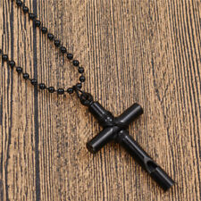 Lady/Men Harajuku Cross Silver /Black Pendant Necklace Whistle Jewelry Statement