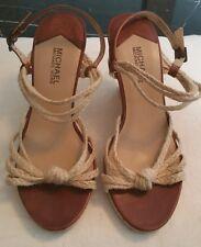 Michael Kors womans shoes braided palm beach wedges size 8 M