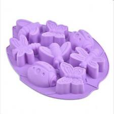 8 Cavities Lady Bug Butterflies Bees Dragonflies Insect Silicone Cake Mold Pan