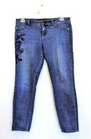 Elle Women's Floral Embroidered Denim Skinny Jeans Size 12