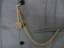 unusual vintage type brass three pence single albert pocket watch chain 3d fob