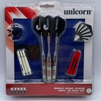 Unicorn Steel 500 Bright Nickel Plated Dart - 30 Pieces Set With Wallet - 21gr