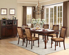 NEW 7PC LORENZA MEDIUM BROWN CHERRY FINISH WOOD DINING TABLE SET w/ LEAF