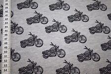 Dünner Jersey Stoff grau meliert Motorrad schwarz  1m