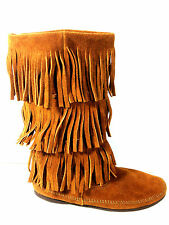 Minnetonka Moccasins Three Tier  Brown Fringed Boots Womens Size 8 US.