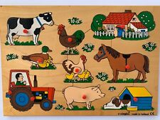 Vintage Simplex Holland Wooden Tray Puzzle Animals Collectible