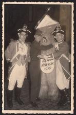 FUNKY POLAR BEAR MASCOT COSTUME & WACKY ARMY MAN ~1959 NEW YEAR SOUVENIR PHOTO