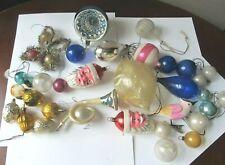 Estate LOT Antique Vintage CHRISTMAS ORNAMENTS Acorns Tinsel Indent BIRD