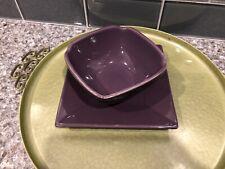 PartyLite Zen Candle Holder Set P8082 Original Box Plate Bowl Purple Black