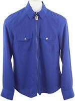 Michael Kors Ladies Womens Cobalt Blue Zip Up Long Sleeve Blouse Top Size S