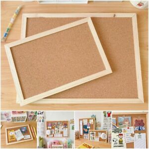 Cork Wood Bulletin Wall Hanging Message Board Frame Notes Memo Home Office Shop