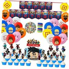Sandbox Game Theme for Robot Block Party Supplies Decorations with Cupcake