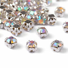 50 Brass Rose Montee Beads AB Crystal Loose Cup Rhinestones Sew-on Findings 4mm