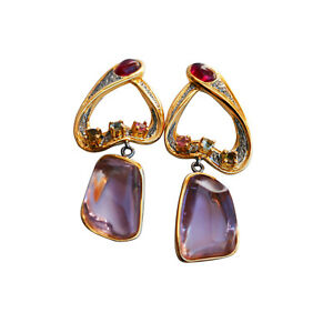 73ct Nice Natural Amethyst Tourmaline dangle earrings S925 sterling silver AS13