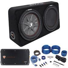 "Kicker 43TCWRT124 COMPRT12 1000w 12"" Shallow Car Subwoofer+Box+Amplifier+Amp Kit"