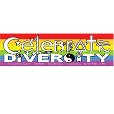 CM010 - Celebrate Diversity Interfaith Symbols Rainbow LGBTQ Color Mini Sticker