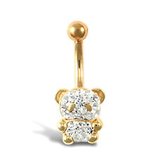 9ct Yellow Gold Belly Bar 10mm White Crystal Teddy Bear