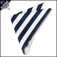 Mens Navy Blue & White Striped Pocket Square Handkerchief hanky