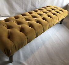Large Buttoned Footstool/Bench In Loaf Pollen Clever Deep Velvet With Oak Legs