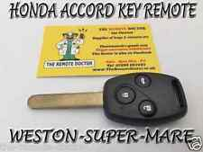 FITS HONDA ACCORD 3 BUTTON KEY REMOTE + NEW UNCUT KEY ID8E CHIP BRISTOL