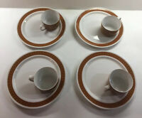 8 pc VTG Mid Century Jonas Roberts Snack Plates &  Cups Brown White Japan 9""