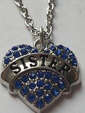 BLUE  SISTER FAMILY GIFT CRYSTAL LOVE HEART PENDANT RHINESTONE NECKLACE