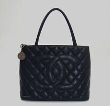 1fe021dc44d Chanel Navy Blue Quilted Caviar Leather Medallion Tote Bag