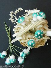 COTTON SPUN MUSHROOM TURQUOISE SMALL DIARAMA FAIRY GARDEN BLUE PIC GERMANY PIC