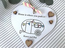 PERSONALISED Caravan Sign Home is where you park Family Name Plaque Camping P66